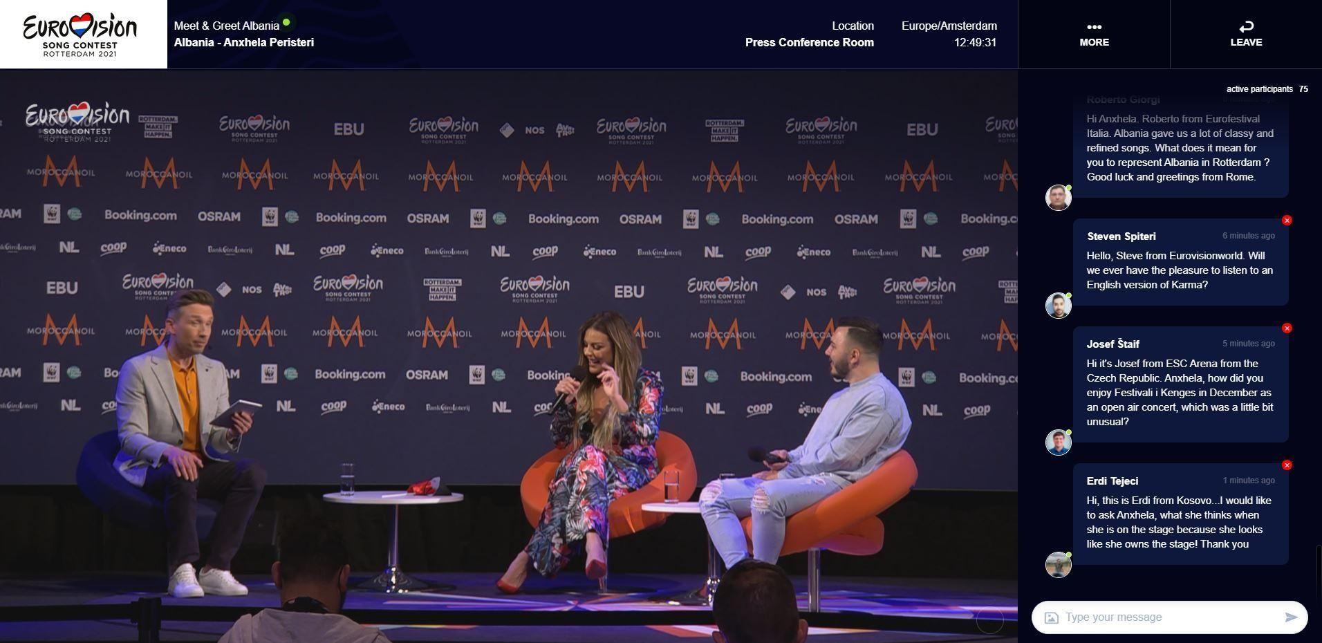Eurovisie Songfestival virtual pressroom 2021