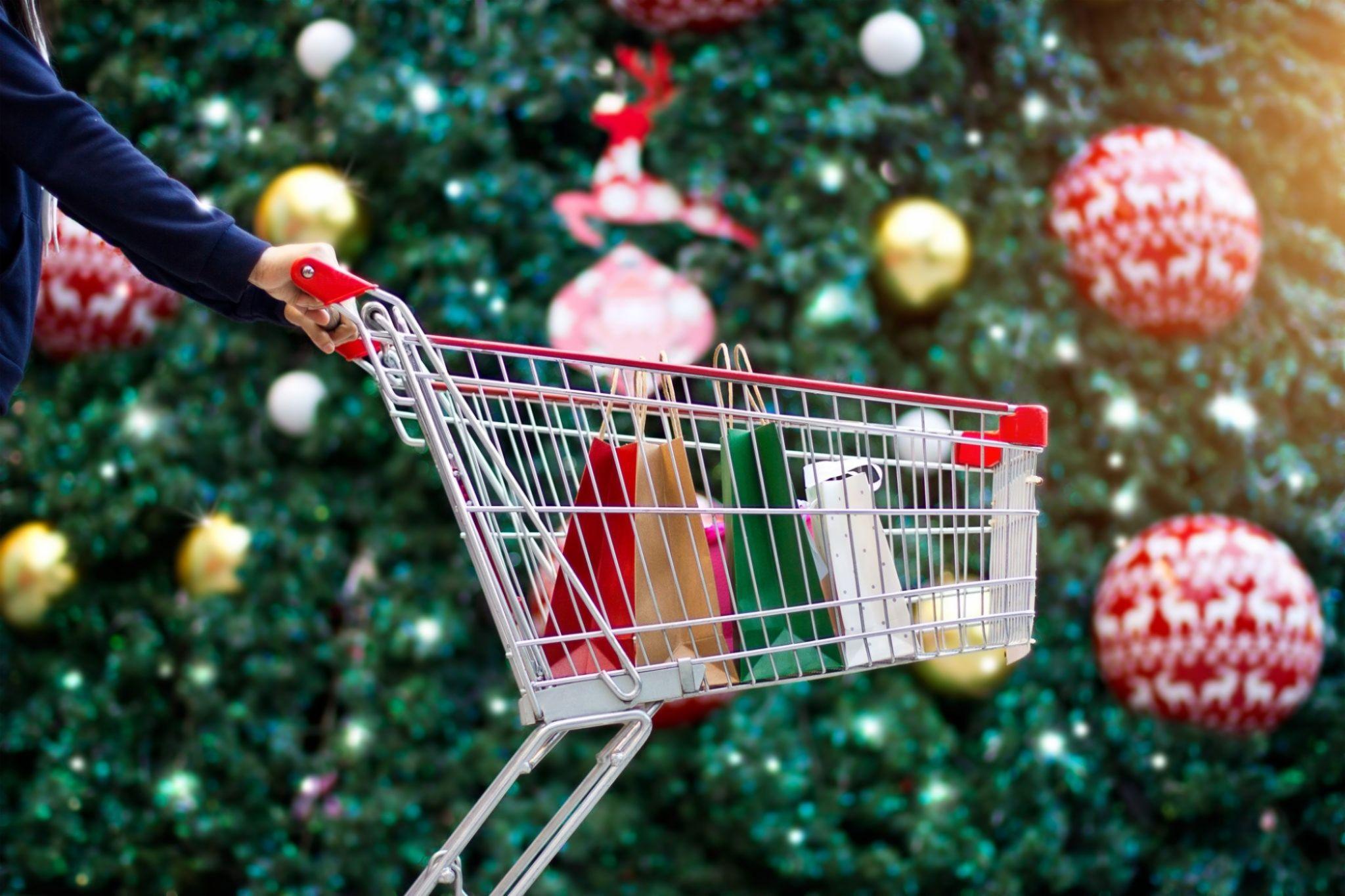 Winkelwagen supermarkt kerst