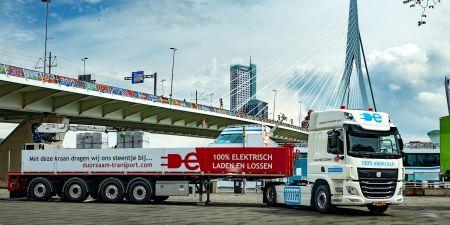 Vrachtwagen duurzaam batterij elektrisch 50 ton trekker klimaat transport rotterdam