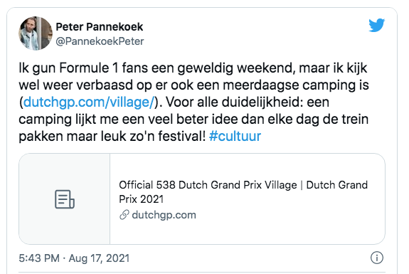 Peter pannekoek twitter evenementen zandvoort