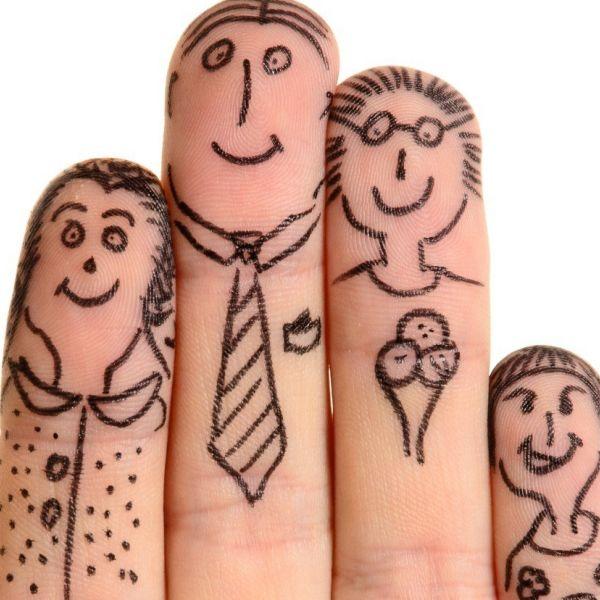 Familiebedrijf gezin vingers