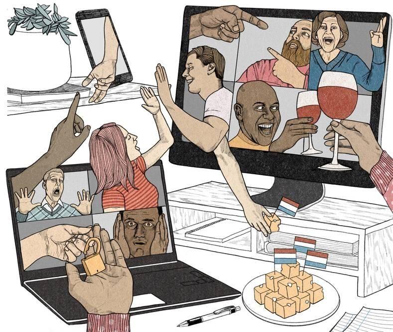 Thuiswerken collega virtuele pubquiz uitje