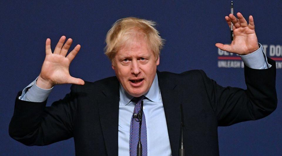 Boris Johnson handen lucht