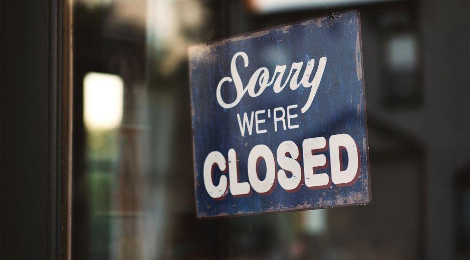 Deur winkel gesloten corona