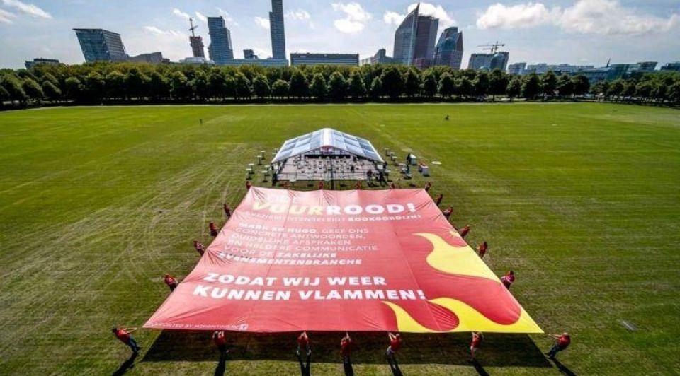 Eventbranche vuurrood protest corona maatregelen 2021