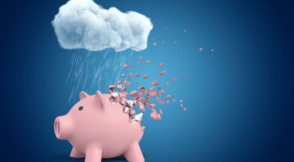 Geld financien failliet spaarvarken