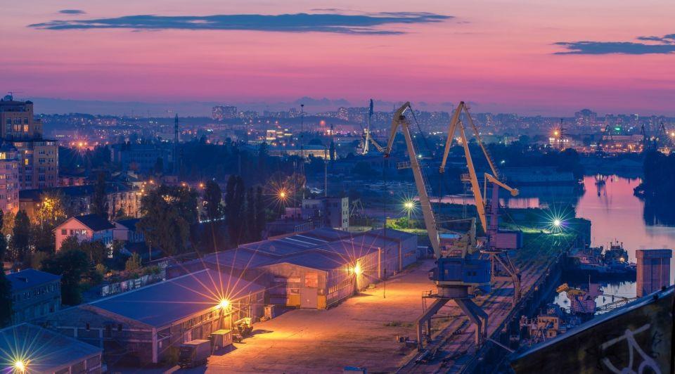 Haven rotterdam avond industrie