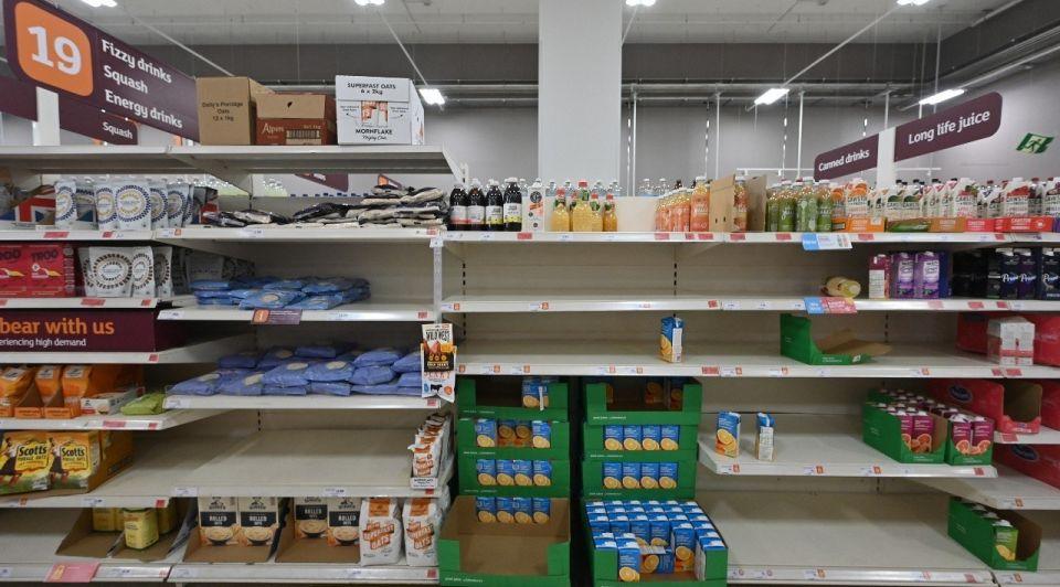 Supermarkt lege schappen brexit