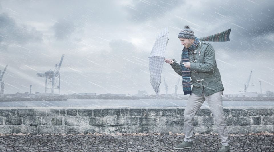 Tegenwind regen paraplu