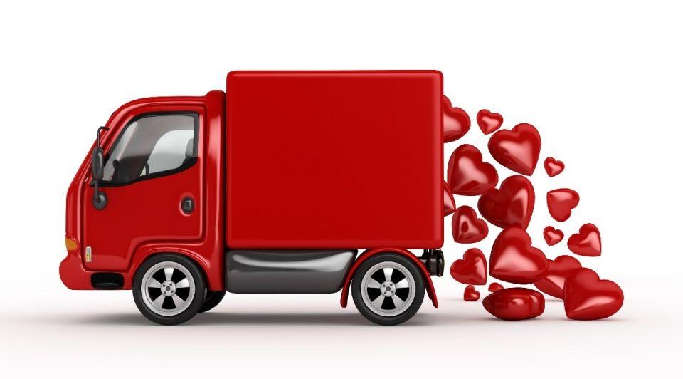 Vrachtwagen hartjes rood valentijnsdag