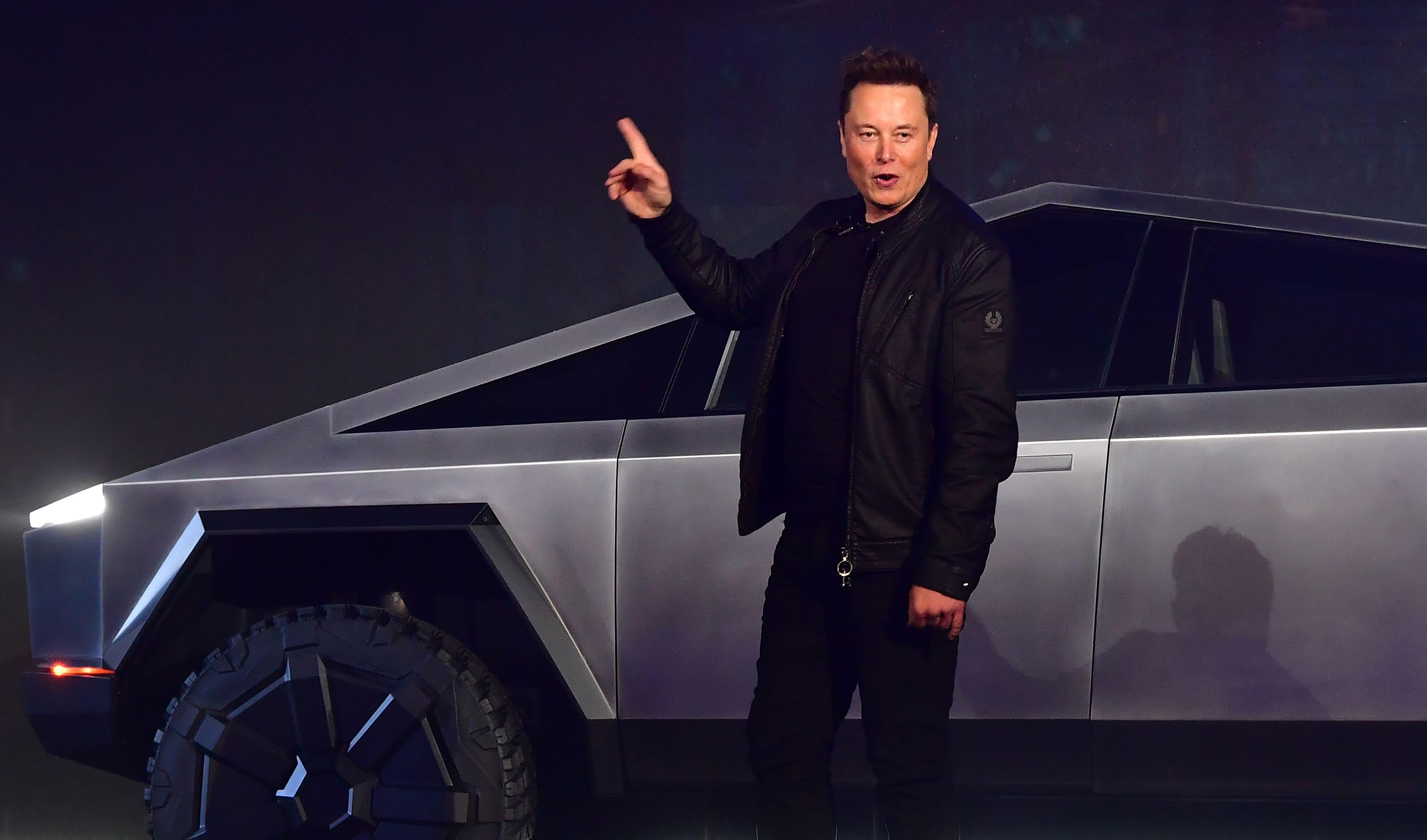 Tesla-baas Elon Musk presenteert het nieuwste Tesla model, de Tesla Cybertruck